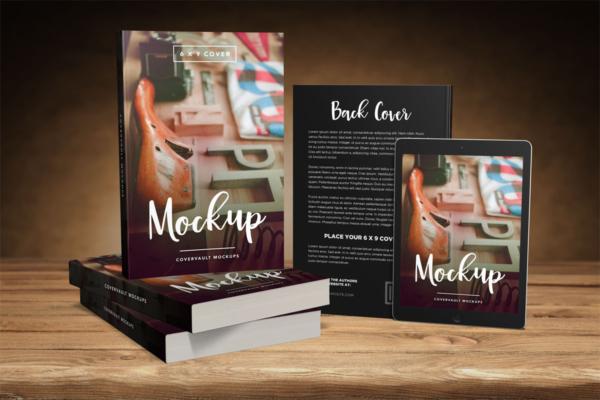 موکاپ کتاب روی میز در کنار تبلت