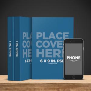 موکاپ سری کتاب و گوشی آیفون 6