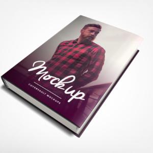 موکاپ کتاب جلد ضخیم با یک جلد کاغذی روی آن