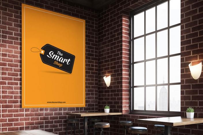 موکاپ پوستر داخل رستوران
