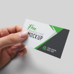 موکاپ کارت ویزیت نگهداشته در دست