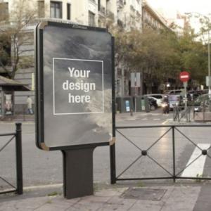 موکاپ بیلبورد تبلیغاتی کنار خیابان واقعی