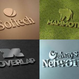 موکاپ لوگو سه بعدی (4 طرح لایه باز)