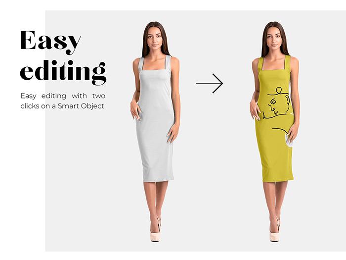 موکاپ لباس میدی آستین حلقه ای زنانه زیر زانو روی تن یک مدل واقعی