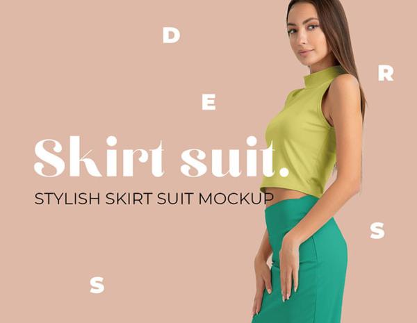 دانلود موکاپ دامن زنانه با پیراهن حلقه ای روی تن یک مدل واقعی