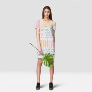 موکاپ لباس زنانه بالای زانو مدل واقعی